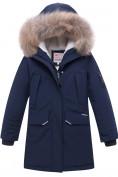 Оптом Куртка парка зимняя подростковая для мальчика темно-синего цвета 8936TS в Казани
