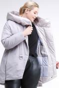 Оптом Куртка зимняя женская молодежная батал серого цвета 90-911_46Sr в Казани, фото 2