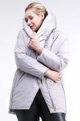 Оптом Куртка зимняя женская молодежная батал серого цвета 90-911_46Sr в Казани, фото 6