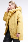 Оптом Куртка зимняя женская молодежная батал желтого цвета 90-911_56J в Казани, фото 4