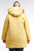 Оптом Куртка зимняя женская молодежная батал желтого цвета 90-911_56J в Казани, фото 5