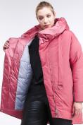 Оптом Куртка зимняя женская молодежная батал персикового цвета 90-911_75P в Казани, фото 8