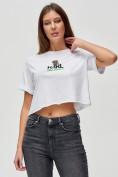 Оптом Топ футболка женская белого цвета 9008Bl