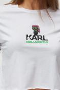 Оптом Топ футболка женская белого цвета 9008Bl, фото 5