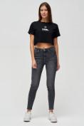 Оптом Топ футболка женская черного цвета 9008Ch, фото 2