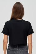 Оптом Топ футболка женская черного цвета 9008Ch, фото 3