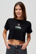 Оптом Топ футболка женская черного цвета 9008Ch, фото 6