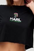 Оптом Топ футболка женская черного цвета 9008Ch, фото 7