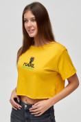 Оптом Топ футболка женская горчичного цвета 9008G, фото 4