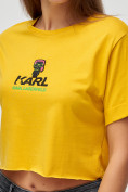 Оптом Топ футболка женская горчичного цвета 9008G, фото 5