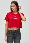 Оптом Топ футболка женская красного цвета 9008Kr в Екатеринбурге