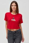 Оптом Топ футболка женская красного цвета 9008Kr в Екатеринбурге, фото 4