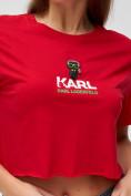 Оптом Топ футболка женская красного цвета 9008Kr в Екатеринбурге, фото 5