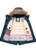 Оптом Парка зимняя Valianly для девочки темно-зеленого цвета 9036TZ, фото 3