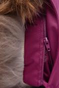 Оптом Парка зимняя для девочки Valianly малинового цвета 9038M, фото 9
