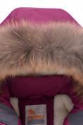Оптом Парка зимняя для девочки Valianly малинового цвета 9038M, фото 4