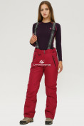 Оптом Брюки горнолыжные женские бордового цвета 906Bo