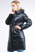 Оптом Куртка зимняя женская молодежная темно-зеленого цвета 9131_03TZ в Казани, фото 4
