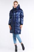 Оптом Куртка зимняя женская молодежная темно-синего цвета 9131_22TS в  Красноярске
