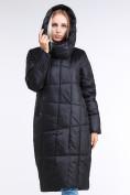 Оптом Куртка зимняя женская молодежная стеганная черного цвета 9163_01Ch в Екатеринбурге, фото 4