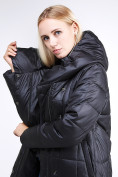 Оптом Куртка зимняя женская молодежная стеганная черного цвета 9163_01Ch в Екатеринбурге, фото 7