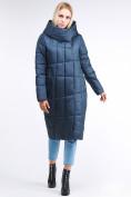 Оптом Куртка зимняя женская молодежная стеганная темно-синий цвета 9163_20TS в Казани