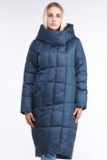 Оптом Куртка зимняя женская молодежная стеганная темно-синий цвета 9163_20TS в Казани, фото 2