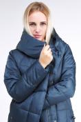 Оптом Куртка зимняя женская молодежная стеганная темно-синий цвета 9163_20TS в Казани, фото 7