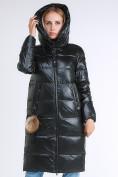 Оптом Куртка зимняя женская молодежное темно-зеленого цвета 9175_13TZ в  Красноярске, фото 6