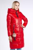 Оптом Куртка зимняя женская молодежное красного цвета 9175_14Kr в Казани, фото 4