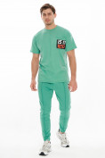 Оптом Костюм джоггеры с футболкой салатового цвета 9181Sl