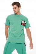 Оптом Костюм джоггеры с футболкой салатового цвета 9181Sl, фото 6