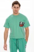 Оптом Костюм джоггеры с футболкой салатового цвета 9181Sl, фото 8