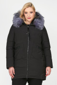 Оптом Куртка зимняя женская молодежная черного цвета 92-955_701Ch в Екатеринбурге, фото 2