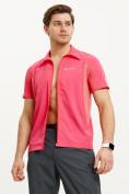 Оптом Футболка спортивная поло Valianly мужская розового цвета 93426R