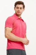 Оптом Футболка спортивная поло Valianly мужская розового цвета 93426R, фото 3