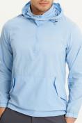 Оптом Анорак ветровка Valianly мужская голубого цвета 93430Gl в Казани, фото 5
