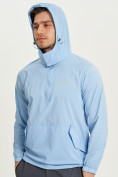 Оптом Анорак ветровка Valianly мужская голубого цвета 93430Gl в Казани, фото 4