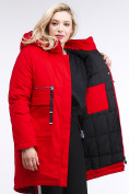 Оптом Куртка зимняя женская молодежная красного цвета 95-906_4Kr в Казани, фото 6