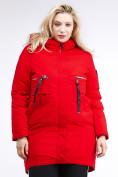 Оптом Куртка зимняя женская молодежная красного цвета 95-906_4Kr в Казани, фото 2