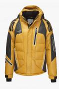 Оптом Куртка пуховик мужская горчичного  цвета 9689G в Нижнем Новгороде