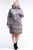 Оптом Куртка зимняя женская классическая коричневого цвета 98-920_48K