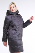 Оптом Куртка зимняя женская классическая темно-серого цвета 98-920_58TC в  Красноярске, фото 3