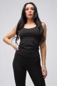 Оптом Спортивный костюм для фитнеса женский черного цвета 21106Ch, фото 4