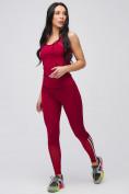 Оптом Спортивный костюм для фитнеса женский бордового цвета 21106Bo