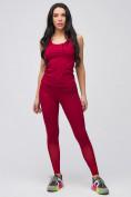 Оптом Спортивный костюм для фитнеса женский бордового цвета 21106Bo, фото 5