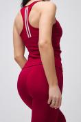 Оптом Спортивный костюм для фитнеса женский бордового цвета 21106Bo, фото 2