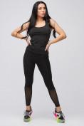 Оптом Спортивный костюм для фитнеса женский черного цвета 21106Ch, фото 2