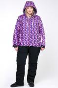 Оптом Костюм горнолыжный женский большого размера фиолетового цвета 018112F в  Красноярске, фото 13