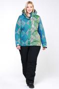 Оптом Костюм горнолыжный женский большого размера салатового цвета 01830-2Sl в  Красноярске, фото 6